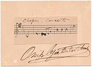 Autograph Musical Quotation Signed.: GABRILOWITSCH, Ossip (1878-1936).