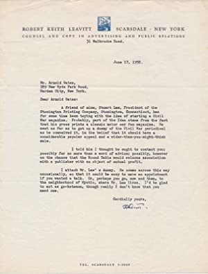 Typed Letter Signed / Typed Note Signed / Magazine Dummy: LEAVITT, Robert Keith (1895-1967)