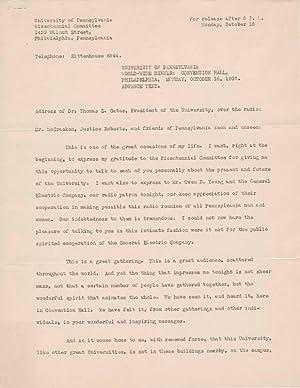 Typed Document Signed: GATES, Thomas S. (1873-1948)