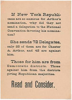 Printed Handbill: ARTHUR, Chester A. (1830-86)