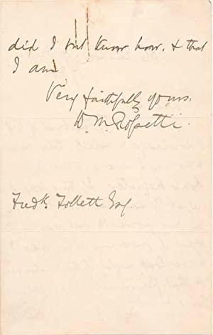 Autograph Letter Signed.: ROSSETTI, William M. (1829-1919).