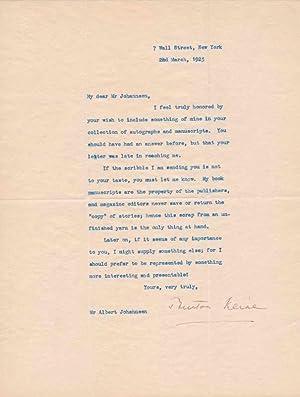 Typed Letter Signed / Autograph Manuscript Signed.: KLINE, Burton (?-?).