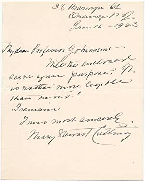 Autograph Note Signed / Autograph Manuscript Signed.: CUTTING, Mary Stewart (1851-1924).