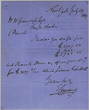 Autograph Letter Signed: CUNARD, Edward (1816-69)