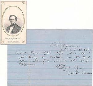 Autograph Note Signed / Carte-de-visite.: PRENTICE, George D. (1802-70).