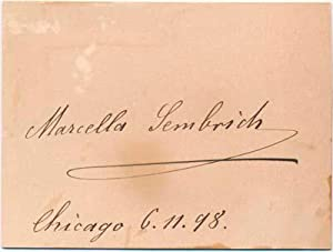 Signature.: SEMBRICH, Marcella (1858-1935).