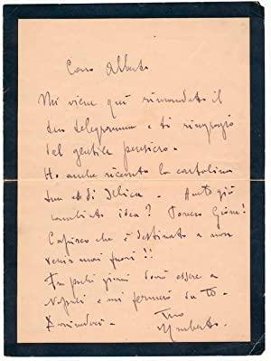 Autograph Letter Signed: GIORDANO, Umberto (1867-1948)