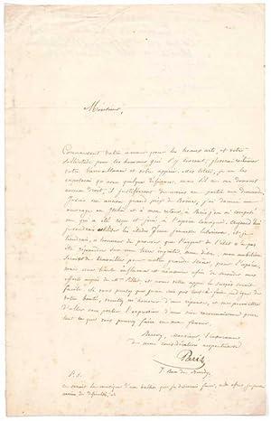 Letter Signed.: PARIS, Comte de (Louis-Philippe-Albert Orleans) (1838-94).
