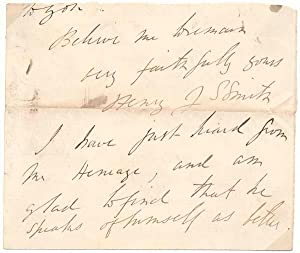 Autograph Letter Signed (partial).: SMITH, Henry John Stanley (1826-83).
