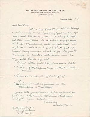 Autograph Letter Signed.: BAIN, H. Foster (1871-1948).