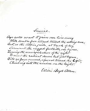 Autograph Manuscript Signed.: ALLEN, Willis Boyd (1855-1938).