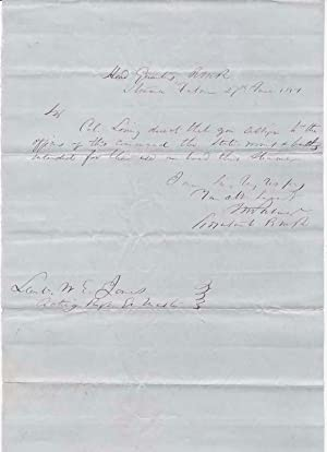 Autograph Note Signed.: PALMER, Innis Newton (1824-1900).
