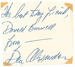 Signature and Inscription.: ALEXANDER, Ben (1911-69).