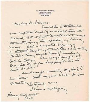 Autograph Letter Signed / Autograph Manuscript Signed.: KINGSLEY, Florence Morse (1859-1937).