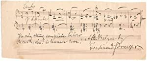 Autograph Musical Quotation Signed: PRAEGER, Ferdinand (1815-91)