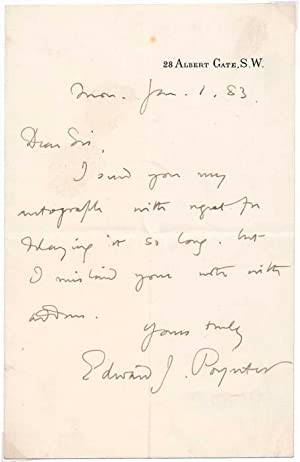 Autograph Note Signed: POYNTER, Edward J. (1836-1919)
