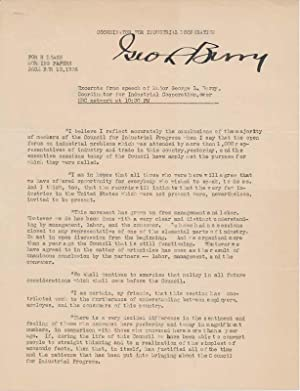 Printed Document Signed.: BERRY, George L. (1882-1948).