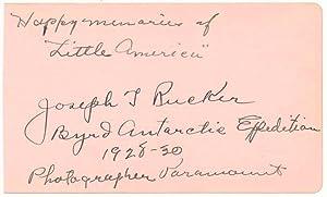Inscription and Signature.: RUCKER, Joseph T. (1887-1957).