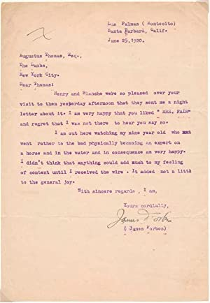 Typed Letter Signed.: FORBES, James (1871-1938).