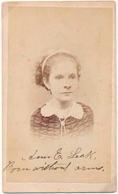 Inscribed Photograph Signed: LEAK, Ann E. (1842-?)