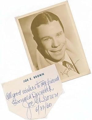 Signature and Inscription / Unsigned Photograph.: BROWN, Joe E. (1892-1973).