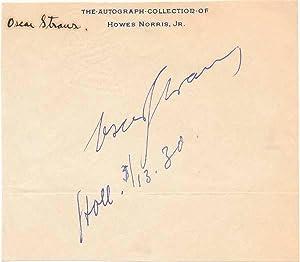 Signature.: STRAUS, Oscar (1870-1954).