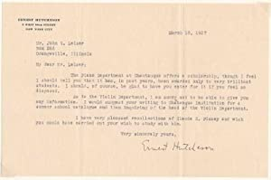 Typed Letter Signed.: HUTCHESON, Ernest (1871-1951).