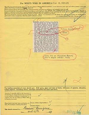 Document Signed: BURGESS, Gelett (1866-1951)