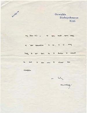 Autograph Note Signed.: WAUGH, Alec (1898-1981).