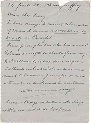 Autograph Letter Signed: MESSAGER, Andre (1853-1929)