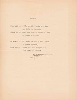 Typed Quotation Signed / Typed Note Signed: BANNING, Kendall (1879-?)