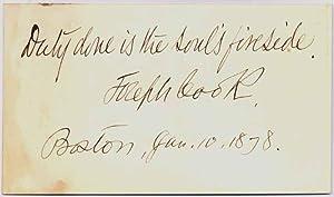 Autograph Quotation Signed.: COOK, Joseph (1838-1901).