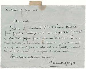 Autograph Letter Signed: GEORGES, Alexandre (1850-1938)