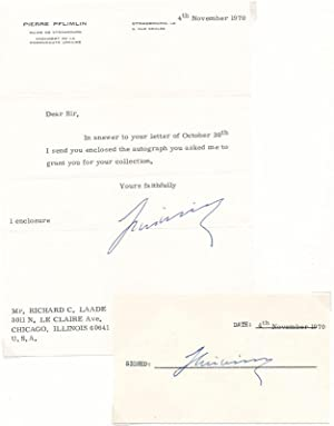 Typed Note Signed / Signature: PFLIMLIN, Pierre (1907-2000)