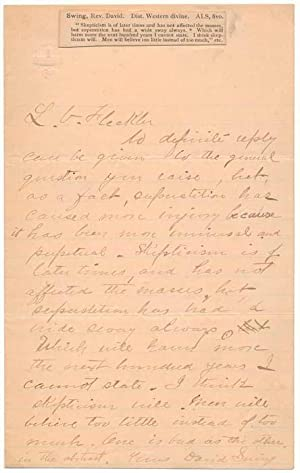 Autograph Letter Signed.: SWING, David (1830-94).