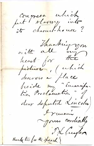 Autograph Letter Signed.: CUYLER, Theodore (1822-1909).