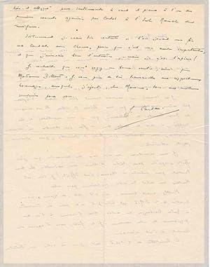 Autograph Letter Signed.: CARTAN, Jean (1906-32).