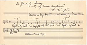 Autograph Musical Quotation Signed: ENGLISH, Granville (189501968?)