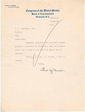 Typed Note Signed / Unsigned Typed Document / Unsigned Photograph.: VINSON, Frederick M. ...