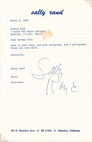 Typed Note Signed: RAND, Sally (1904-79)