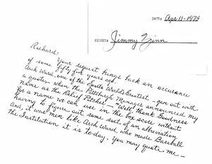 Signature / Autograph Note (unsigned).: ZINN, Jimmy (1897-1991).
