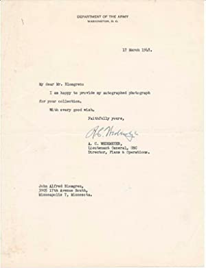 Typed Note Signed.: WEDEMEYER, Albert C. (1897-1989).