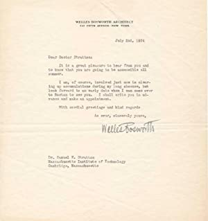 Typed Letter Signed.: BOSWORTH, Welles (1868-1966).