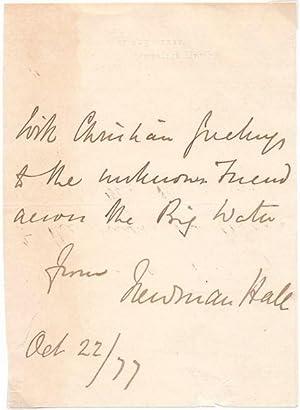 Inscription and Signature: HALL, Newman (1816-1902)