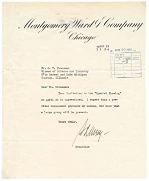 Typed Note Signed.: AVERY, Sewell (1873-1960).