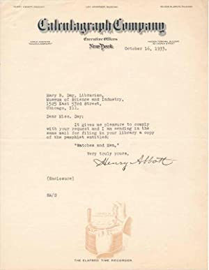 Typed Note Signed: ABBOTT, Henry (1850-?)