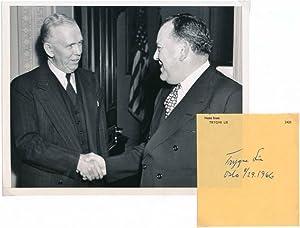 Signature / Unsigned Photograph.: LIE, Trygve (1896-1968).
