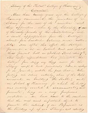 Autograph Manuscript (Unsigned).: Philadelphia College of Pharmacy.