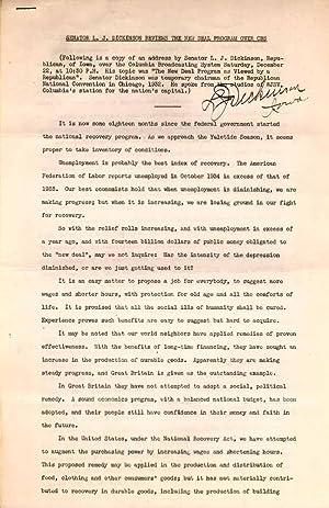 Printed Document Signed.: DICKINSON, Lester J. (1873-1968).