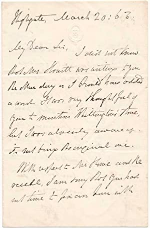 Autograph Letter Signed.: HOWITT, William (1792-1879).
